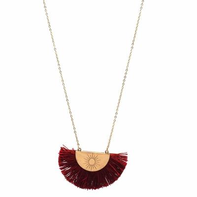 Collier ras de cou - POMPON SOLEIL - Acier Inoxydable Or - Rouge ou Noir - 40 + 5 cm - Ikita Paris