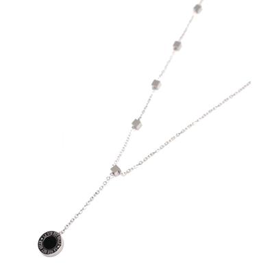 Collier ras de cou - LA VIE EST BELLE -  - Pendentif pendant & Minis cubes - Acier inoxydable - 38 + 4 cm - Ikita Paris