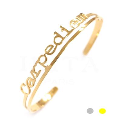 Bracelet jonc message mantra - CARPE DIEM - Acier Inoxydable - Finition Or ou Argent – Ikita Paris