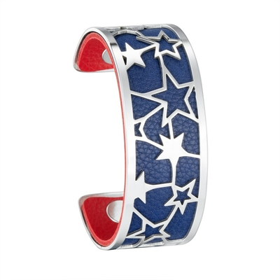 Manchette bracelet Interchangeable - CELESTE - Acier Inoxydable - Ajustable - 25 mm + 1 CUIR RÉVERSIBLE - 24 coloris - Finition Argent