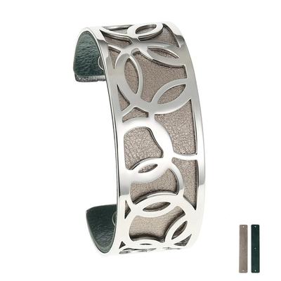 Manchette bracelet Interchangeable - BULLE - Acier Inoxydable - Ajustable - 25 mm + 1 CUIR RÉVERSIBLE - 20 coloris - Finition Argent