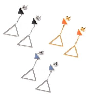Boucles oreilles pendantes - TRIANGLES - Acier Inoxydable - Bijou Ikita Paris