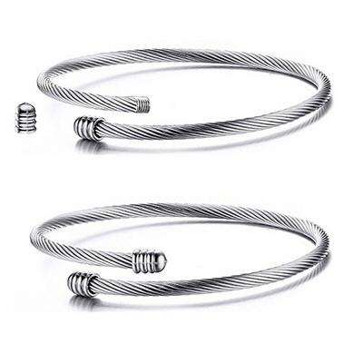 Bracelet pour charms - TORSADE - Acier Inoxydable - Extensible & Ajustable - Jonc