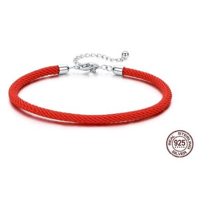 Bracelet pour charms - CORDON ROUGE - Argent 925 - 16 + 4 cm - Rouge