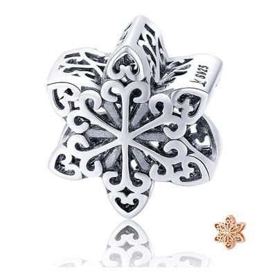 Charm FLOCON - Argent 925 - Pour Bracelet & Collier - Finition Argent et or Rose
