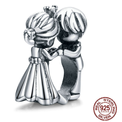 Charm LES AMOUREUX - Argent 925 - Pour bracelet et Collier