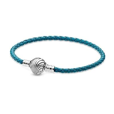 Bracelet pour charms - COQUILLAGE - Cuir tressé - Argent 925 - Bleu