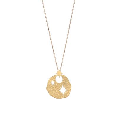 Collier ETOILE DU NORD avec pendentif or martelé - Acier Inoxydable - 60 + 5 cm - Ikita Paris