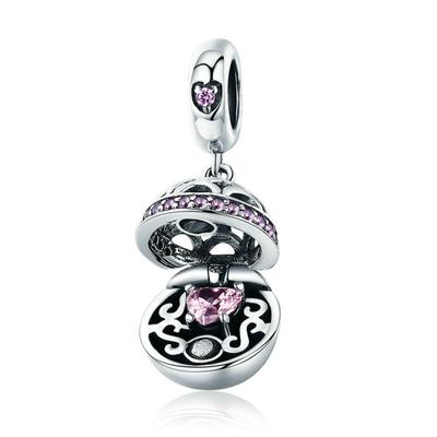 Charm Pendentif - ÉCRIN de COEUR - Argent 925 - Zircon - Pour Bracelet & Collier - Rose