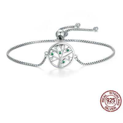 Bracelet Coulissant ARBRE de VIE - Argent 925 - Pierres en Zircon Cubique - Fin - 26 cm