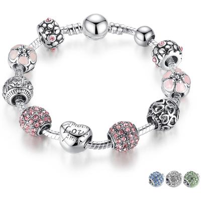 Bracelet avec charms AMOUR - Plaqué Argent - Zircon Cubique - 4 Coloris - 3 Tailles