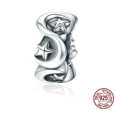 Espaceur PAYS DES RÊVES - Argent Sterling 925 - Etoile & Lune - Pour Bracelet & Collier
