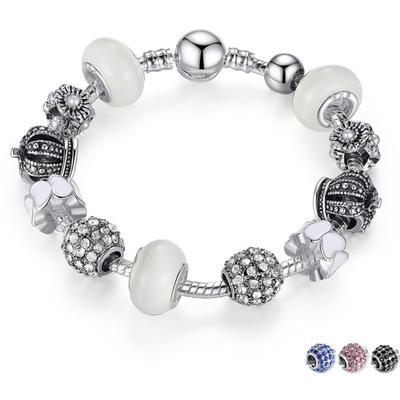 Bracelet avec charms QUEEN LADY - Plaqué Argent - Zircon Cubique - 4 Coloris - 2 Tailles