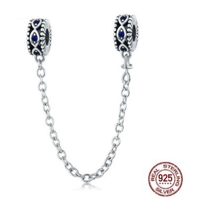 Chaîne de confort Œil de protection SOUL EYE - Argent Sterling 925 - Zircon Cubique - Bleu