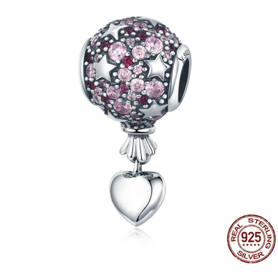 Charm LOVE IS IN THE AIR - Argent 925 - Zircon - Pour bracelet & Collier - Rose