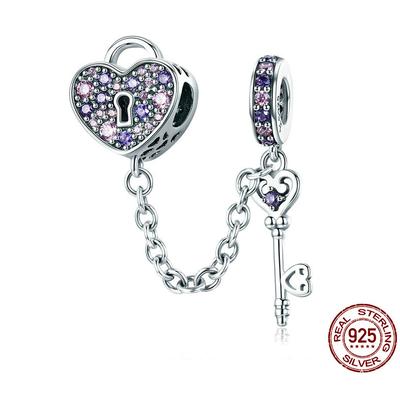 Charm Pendentif CLÉ du CŒUR - Argent 925 - Zircon - Pour Bracelet & Collier - Rose & Violet
