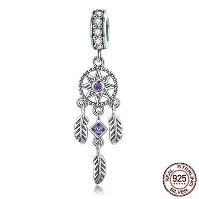 Charm Pendentif ATTRAPE-RÊVES - Argent 925 - Zircon - Pour Bracelet & Collier - Violet