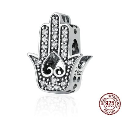 Charm KHAMSA D'AMOUR - Argent 925 - Zircon Cubique - Pour bracelet & Collier