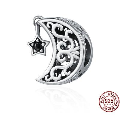 Charm JOLIE LUNE - Argent S925 - Zircon Cubique - Pour bracelet & Collier - Noir