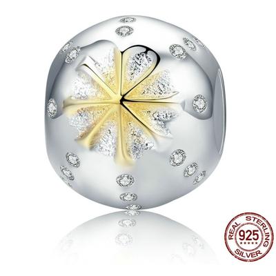 Charm ÉTOILE DES NEIGES- Argent 925 & Plaqué Or - Pour bracelet & Collier