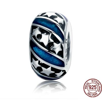 Charm espaceur - VOIE LACTÉE - Argent 925 - Bleu - Pour Bracelet & Collier