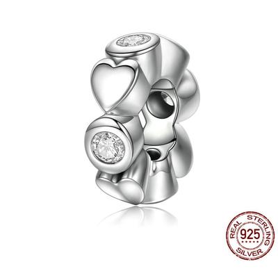 Espaceur COURONNE de CŒUR - Argent 925 - Zircon - Pour Bracelet & Collier