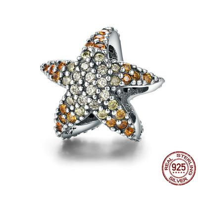 Charm ÉTOILE DE MER - Argent S925 - Zircon Cubique - Jaune/Orangé - Pour bracelet et collier