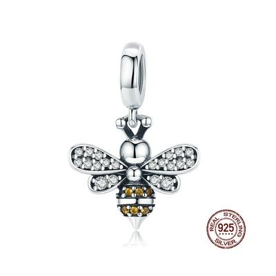 Charm Pendentif ABEILLE - Argent 925 - Zircon Cubique - Pour Bracelet & Collier