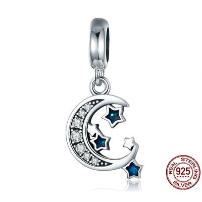 Charm Pendentif CLAIR de LUNE - Argent S925 - Zircon bleu - Pour Bracelet & Collier