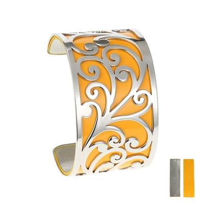 Manchette bracelet Interchangeable - FLORALE - Acier Inoxydable - Ajustable - Large - 40 mm + 1 CUIR RÉVERSIBLE - 20 coloris - Finition Argent