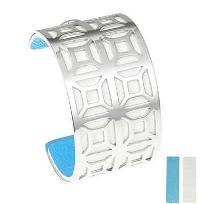 Manchette bracelet Interchangeable - GEOMETRIQUE - Acier Inoxydable - Ajustable - Large - 40 mm + 1 CUIR RÉVERSIBLE - 20 coloris - Finition Argent