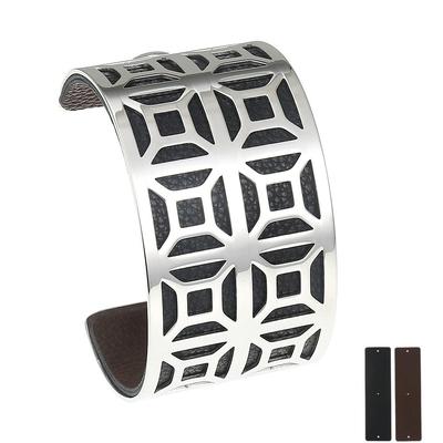 Manchette bracelet Interchangeable - ARABESQUE - Acier Inoxydable - Ajustable - Large - 40 mm + 1 CUIR RÉVERSIBLE - 20 coloris - Finition Argent