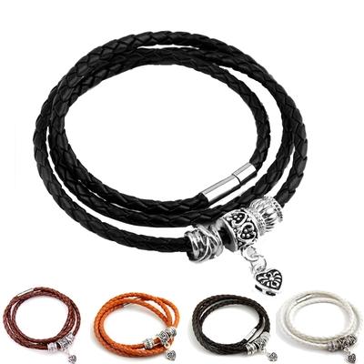 Bracelet TRIPLE TOUR avec charms - Cuir Tressé PU - Fermoir aimant - 4 Coloris - 60 cm