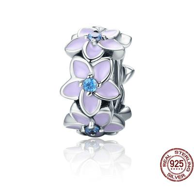 Espaceur FLEURS D'ÉTÉ - Argent 925 - Zircon Cubique - Mauve & Bleu - Pour Bracelet & Collier