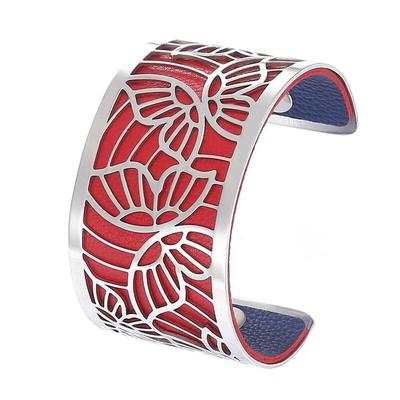 Manchette bracelet Interchangeable - PAPILLONS - Acier Inoxydable - Ajustable - Large - 40 mm + 1 CUIR RÉVERSIBLE - 26 coloris - Finition Argent