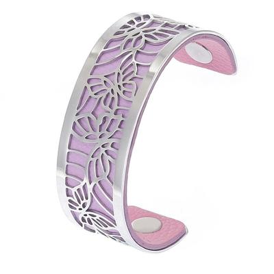 Manchette bracelet Interchangeable - PAPILLONS - Acier Inoxydable - Ajustable - 25 mm + 1 CUIR RÉVERSIBLE - 26 coloris - Finition Argent