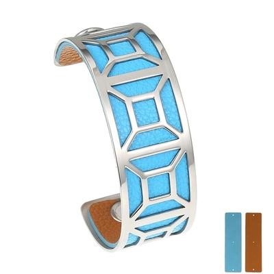Manchette bracelet Interchangeable - GEOMETRIQUE - Acier Inoxydable - Ajustable - 25 mm + 1 CUIR RÉVERSIBLE - 20 coloris - Finition Argent