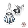 Charm Pendentif Coquille saint jacques et sa perle d'eau douce – argent sterling 925 – compatible pandora-min
