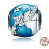 Charm boule TOUR DU MONDE - Argent 925 - Pierres en Zircon Cubique planete terre avion style pandora bijou personnalisable - pendentif planete bleue