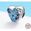 """Charm Pendentif PAPILLON CŒUR - """"You Are Beautiful"""" - Argent S925 - Zircon Cubique - Style Pandora - Bleu - charm bijou amour pandora pendentif message amour - tu es belle"""