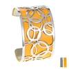 Manchette Bracelet Interchangeable - BULLE - Acier Inoxydable - ajustable - 40 mm + 1 CUIR RÉVERSIBLE OFFERT - jaune