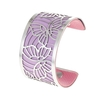 Manchette bracelet Interchangeable - PAPILLONS - Acier Inoxydable - Ajustable - Large - 40 mm + 1 CUIR RÉVERSIBLE - 26 coloris - Finition Argent - violet rose