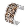 Manchette bracelet Interchangeable - PAPILLONS - Acier Inoxydable - Ajustable - Large - 40 mm + 1 CUIR RÉVERSIBLE - 26 coloris - Finition Argent - serpent leopard