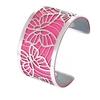 Manchette bracelet Interchangeable - PAPILLONS - Acier Inoxydable - Ajustable - Large - 40 mm + 1 CUIR RÉVERSIBLE - 26 coloris - Finition Argent - rose gris