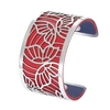 Manchette bracelet Interchangeable - PAPILLONS - Acier Inoxydable - Ajustable - Large - 40 mm + 1 CUIR RÉVERSIBLE - 26 coloris - Finition Argent - rouge bleu marine