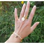 Bague avec pendentif étoile du nord – Acier inoxydable – large- femme- Email – Finition Or-min