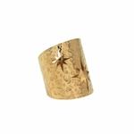 Bague Large Martelée Ajourée - ETOILE DU NORD – Acier inoxydable – Or - Ajustable  (1)