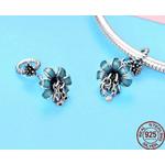 charm fleur bleue pendentif fleur bleue zircon cubique perle pour bracelet argent 925