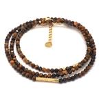 bracelet multirangs chance amour - acier inoxydable - ikita paris - oeil de tigre-min