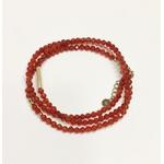 bracelet multirangs chance amour - acier inoxydable - ikita paris - rouge cornaline-mi (1)